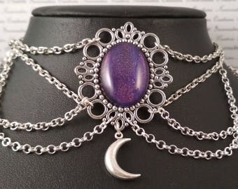 Handpainted holographic purple stone and silver moon chain choker necklace gothic victorian