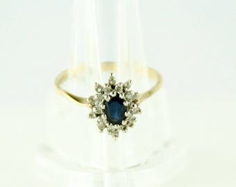 Vintage Diamond & Sapphire 14k Solid Gold Ring Size 5