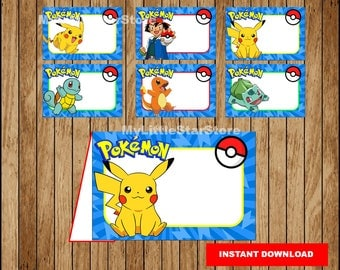 Pokemon Food labels, Printable Pokemon Food tent cards, Pokemon party Food labels Instant download