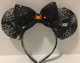 Spider Mickey Ears - Halloween Mickey Wars - Spider Web Ears - Halloween Ears - Halloween Inspired Minnie Ears