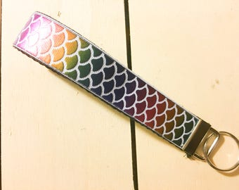 Mermaid scales key fob- mermaid-mermaids-rainbow scales-colorful scales