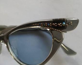 Vintage Sunglasses Cat Eye 1950s Original Selecta Women Retro France Gray