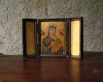 Vintage Triptych on wood, French.