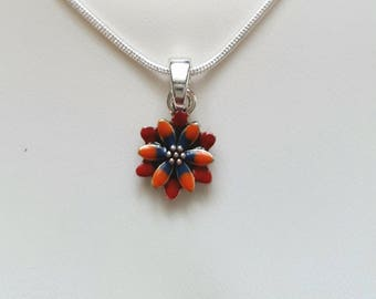 Flower love necklace red,orange,blue,silver 925 chain,enamelled pendant in a beautiful gift box.