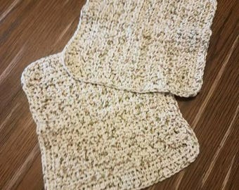 2 Pack of Handmade Cotton Washcloths and 1 Face Scrubbie