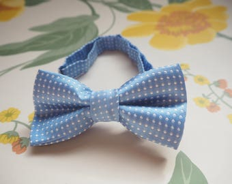 Bow tie for baby, toddler or child: adjustable blue polka dot, photo prop, birthday, gift, baby shower wedding, party, page boy, formal,