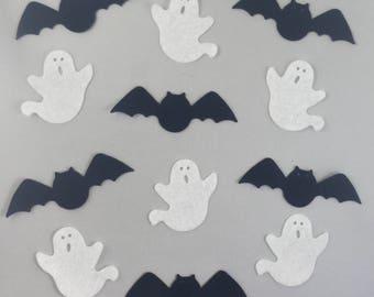 Halloween Die Cuts - Die Cut Bats - Die Cut Ghosts - Halloween Decor - Acrylic Die Cuts - Felt Supplies - Felt Die Cut Shapes