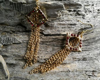 Ruby Red and Gold Chain Hook Earrings