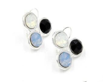Tri-Color Ohrringe, Swarovski Kristalle, Hängeohrringe, Shiny Silver, Multicolor, Ohrhänger, Hänger, nickelfrei, handgemacht
