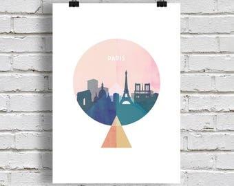 Paris skyline Print, cities skyline, printable. Wall art. Paris gift
