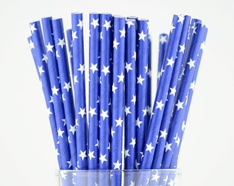 Blue Stars Paper Straws - Party Decor Supply - Cake Pop Sticks - Party Favor