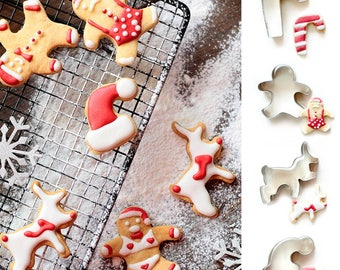 4pcs/Set Christmas Cookie Cutters - Cup Hanging Biscuits - Fondant Biscuit Mold - Pastry Baking Tool Set