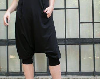Black Harem Black Jumpsuit. Women casual jumpsuit. Loose black jumpsuit. Oversize black jumpsuit. Plus size black jumpsuit.Two pockets
