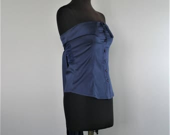 RESERVED 90s navy strapless blouse Off The Shoulder Shirt waist Ribbon tie top Size S Made in Italy