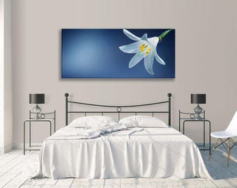 Floral White Blue Flower  Panorama Canvas Wall Art Picture Home Decor