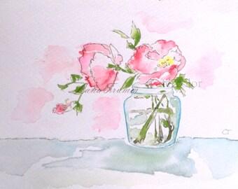 """Original watercolor paint """"Roses in vase"""""""