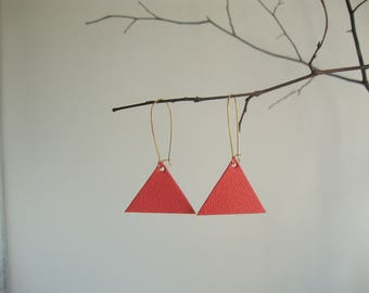Leather earrings triangle geometric coral