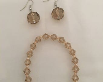 Champagne crystal bracelet and earrings