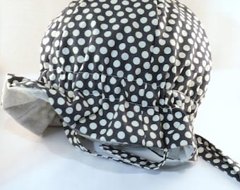 """Cotton """"Grow-with-Me"""" Sunhat - Grey with White Polka Dots - Adjustable Size - Flat Brim - Velcro Chin Strap - 0-3+ Years - Stay-On Hat"""