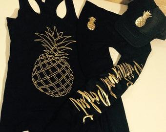 3 piece Pineapple fitness set, leggings, hat, racerback, LIMITED