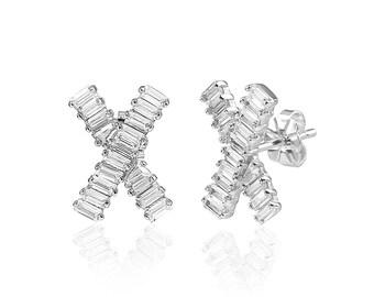 14k White Gold Plated Ladies Sterling Silver Baguette Earrings
