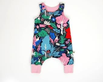 Harem romper, wonderland, organic baby clothes, toddler clothes, gift for baby, gift for toddler