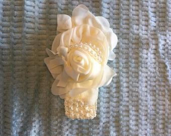 Infant/Toddler Ivory Crochet Headband