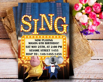 Sing Movie Party, Sing Birthday Invitations, Sing Birthday party, Sing Movie Party, Sing Movie Birthday, Sing Party, Sing Birthday