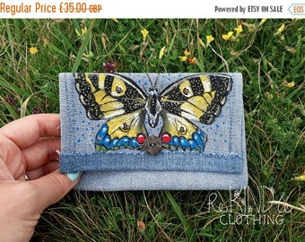 40% OFF Hand painted denim purse Butterfly Upcycled