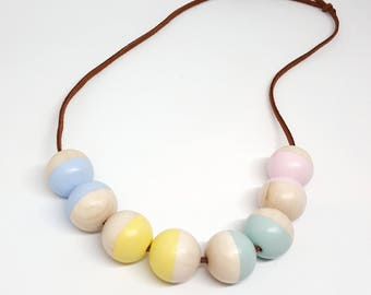 Pastel necklace, Gift for her, Valentine's necklace, wood bead necklace, geometric necklace, Valentine's gift, handmade in Cornwall