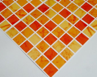 Pack of 10 terracotta orange red mosaic tile stickers transfers, with added gloss affect, just peel and stick, bathroom kitchen
