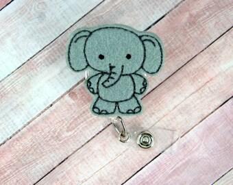 Elephant Badge Reel- Animal Badge Clip - Felt Badge Reel- Retractable ID Badge Holder - Badge Pull