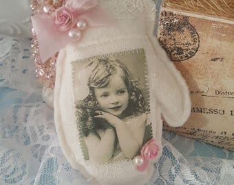 Vintage Mitten Hanger Pink Shabby Chic Mitten Ornament Vintage Images Girl with Curls with Pearls and Roses Lavender Sachet Vintage Laces