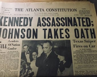 John F. Kennedy Assassination The Atlanta Constitution Saturday, November 23, 1963 Newspaper Edition.