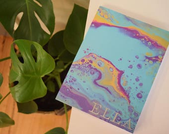 Personalized Original Abstract Acrylic Resin Artwork Print, Notebook Journal - Spring Bubbles