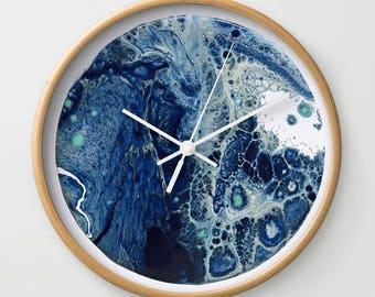 Wall Clock, Original Art Print Clock, Interior - Blue Moon. Custom Order, Pre Order