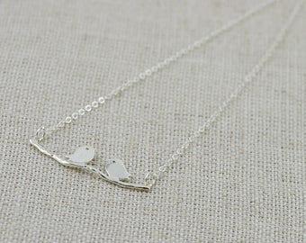 Bird on perch Necklace, FREE SHIPPING, Bird Pendant, Silver Bird Necklace, Silver Pendant Necklace, Birds on perch Jewellery, Silver Jewelry