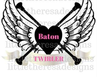 Baton Twirler Heart and Wings Transfer,Digital Transfers,Digital Iron Ons,Diy