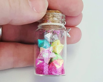 Bubblegum Lucky Origami Star Necklace