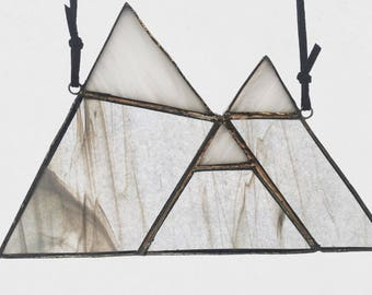 Mountain Suncatcher Grey - Stained Glass