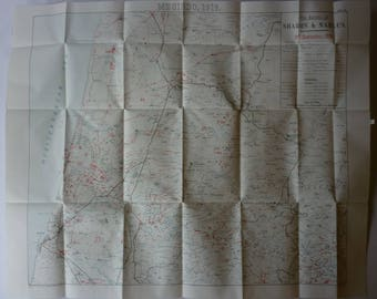 1920s Antique WWI Military Operations Map of the Battles of Sharon and Nablus of September 19th 1918