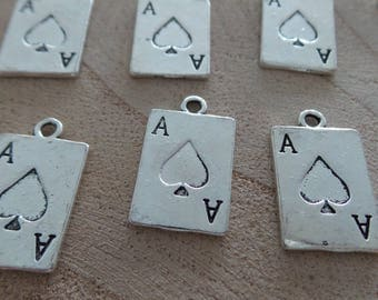 Set of 10 charms ACE of Spades in silver