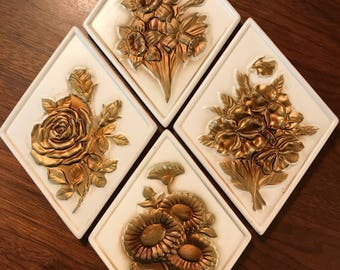 1960's Ardco Fine Quality Dallas White Porcelain Wall Plaques with Gold Flowers