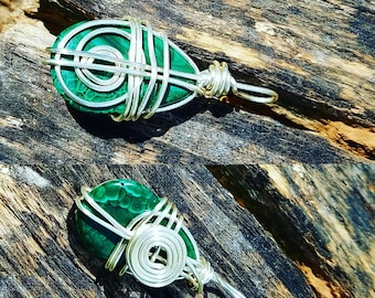 Spiral Malachite Natural Wire Wrapped Crystal Pendant