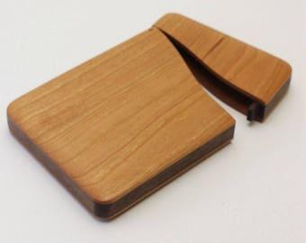 Wooden business card into standard cherry, Walnut
