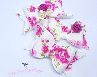 Embellished floral bow/ flower bow/ girls bow/ embellished bow/ pink flower bow/ pink bow/ pink floral bow/ handmade bow/ baby headband