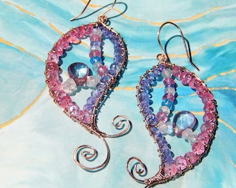 Reserved Mystic pink topaz, tanzanite and moonstone paisley hammered earrings in rose gold