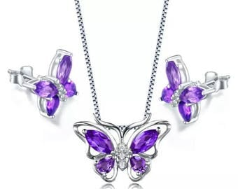 Maydis Amethyst butterfly Set