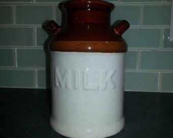 Vintage Glazed Stoneware Milk Jug