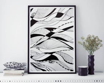Printable Art, Abstract, lines, Black and White painting, Art Print, Home Decor, Wall Decor, Wall art